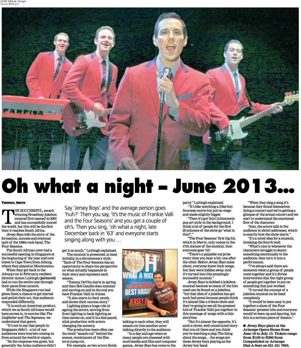 Jersey Boys in the Argus